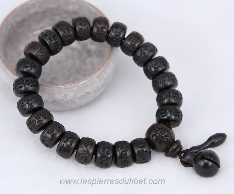 Bracelet Mala tibétain bois ébéne