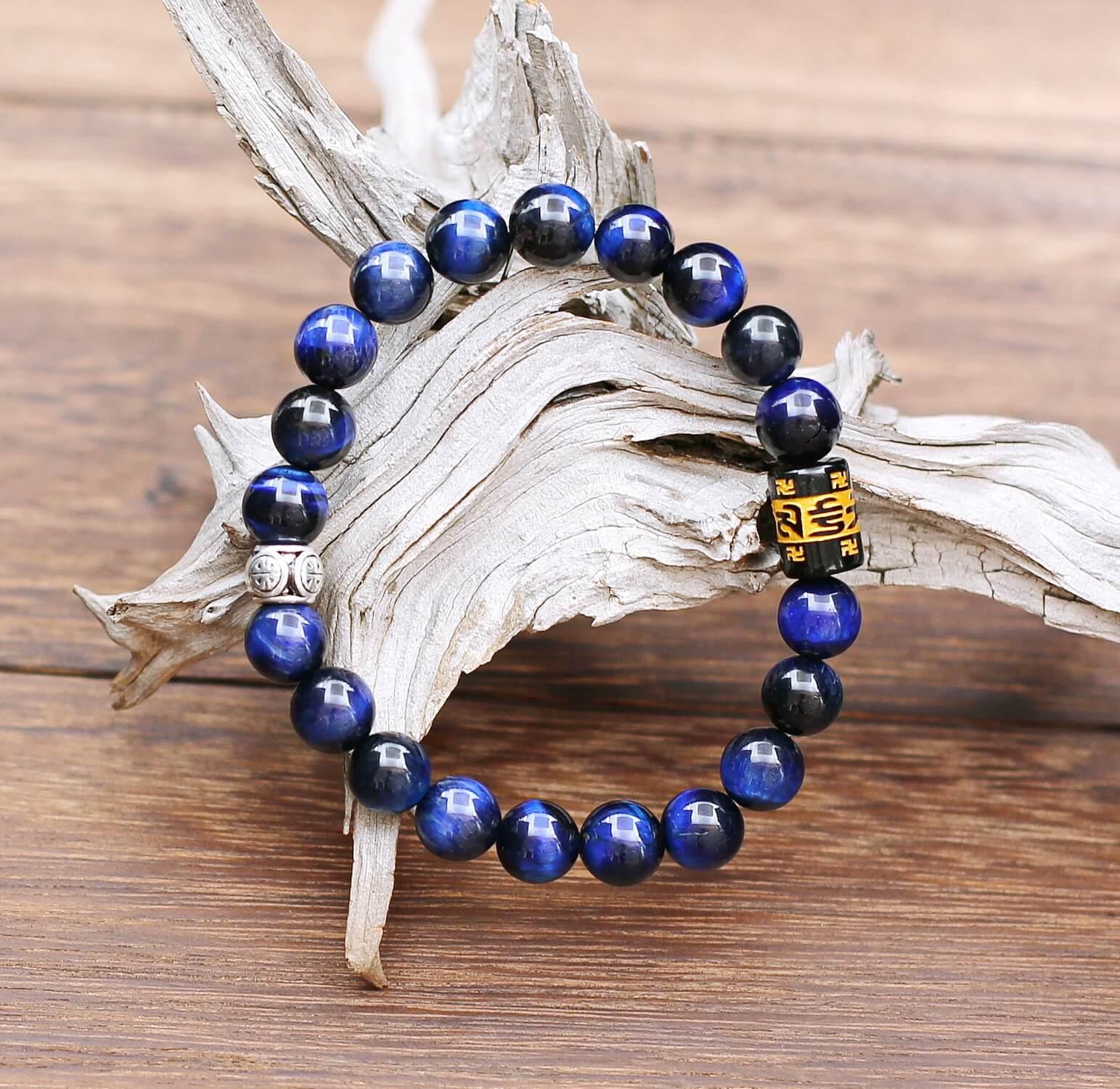 Bracelet Oeil de Tigre bleu et Talisman Moulin