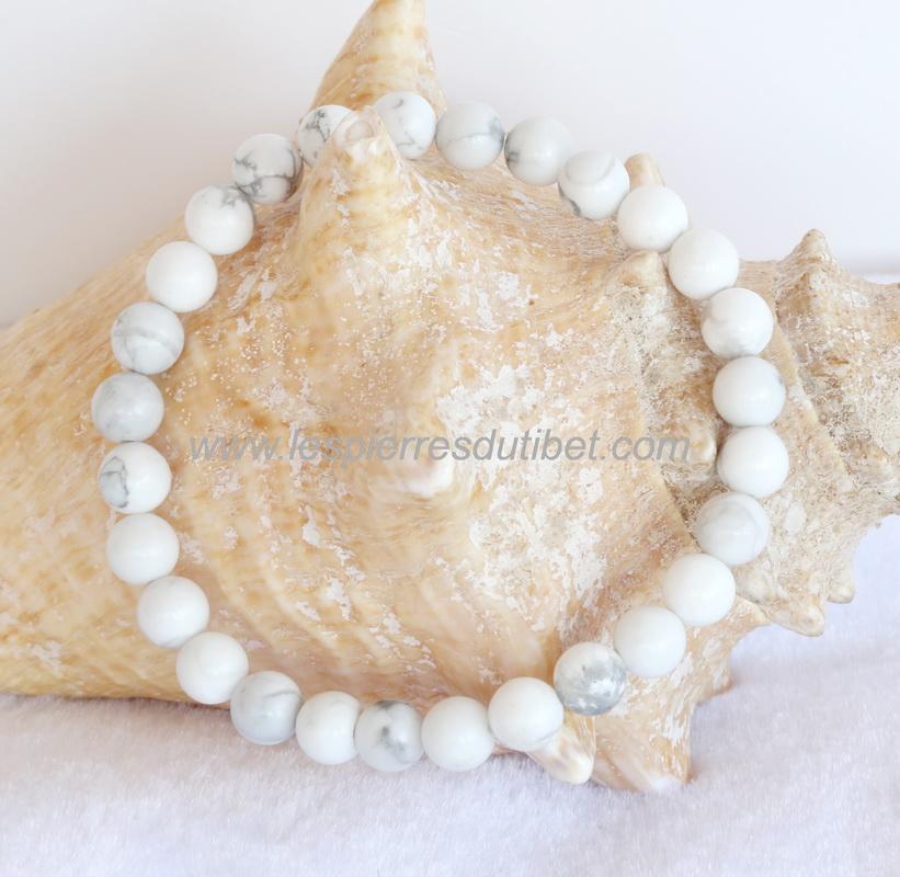 offrir des rabais sélectionner pour plus récent images officielles Bracelet Howlite perles 6mm