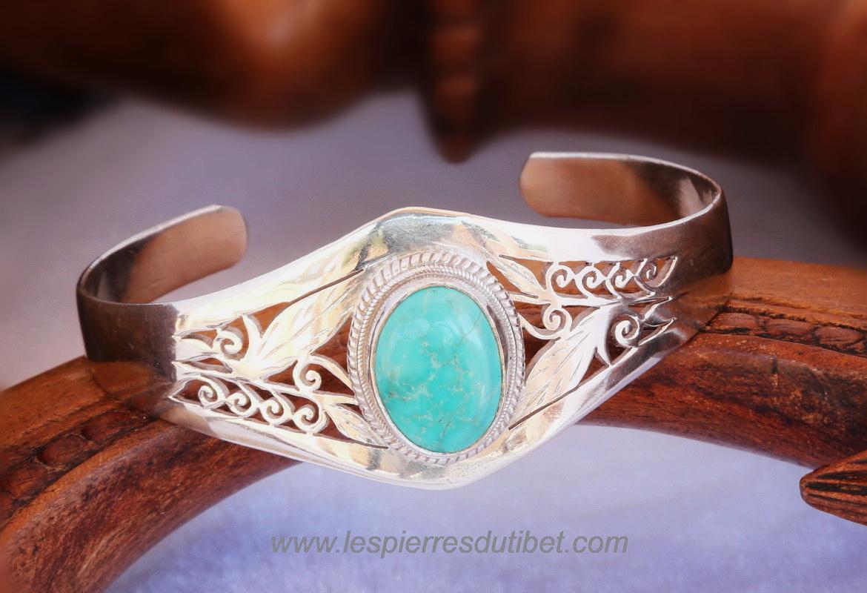 Bracelet Tibétain Turquoise argent 925