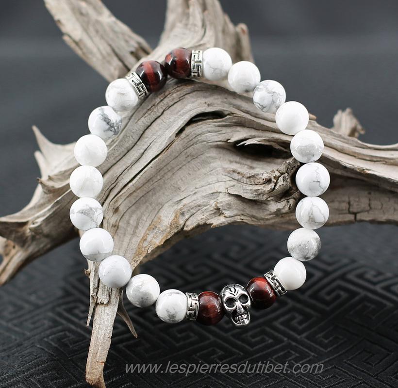 Bracelet homme perles tete de mort