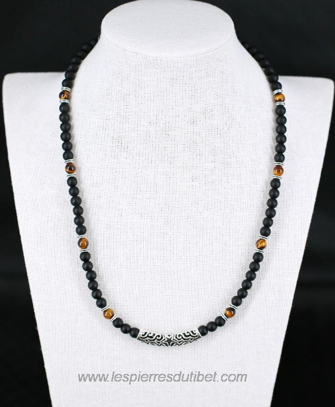 collier homme avec perle noire